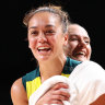 Leilani Mitchell celebrates after the Opals advanced to the quarter-finals.