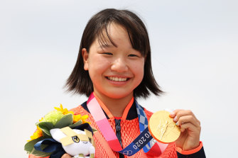 Nishiya Momiji won gold in the street skateboarding on Monday.