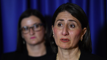 Premier Gladys Berejiklian with Education Minister Sarah Mitchell.