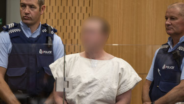 Accused gunman Brenton Tarrant appears before the court in Christchurch.