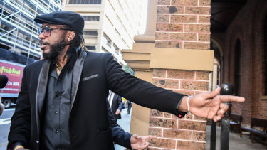 Chris Gayle outside the NSW Supreme Court during his defamation case against Fairfax.