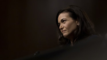 Sheryl Sandberg, Facebook's chief operating officer, testifies on Capitol Hill in Washington.