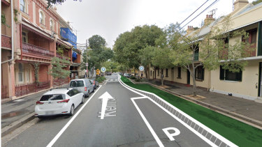 An artist's impression of the planned cycleway on Kent Street in Millers Point.