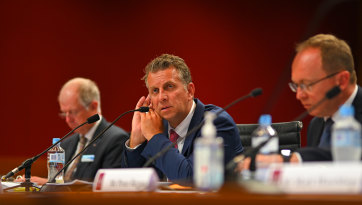 Transport Minister Andrew Constance at a budget estimates meeting on Thursday.