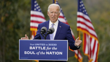 Joe Biden in Warm Springs, Georgia today.