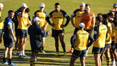Eels coach Brad Arthur lays down the law at training.