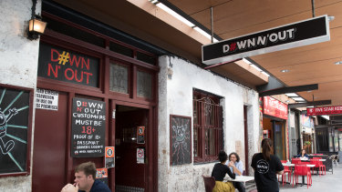 Down N' Out restaurant in George Street, Sydney. It has since moved to Liverpool Street.