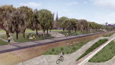 An artist's impression of the Reimagining Bendigo Creek project.