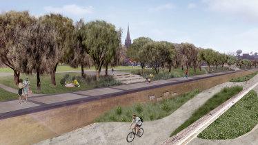 An artist's impression of the Reimagining Bendigo Creek project.