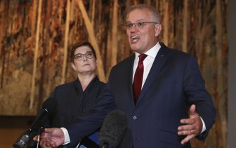 Prime Minister Scott Morrison and  Minister for Women Marise Payne at an International Women's Day breakfast on Thursday.