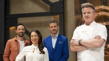 MasterChef's new judges Andy Allen, Melissa Leong and Jock Zonfrillo with guest mentor Gordon Ramsay.