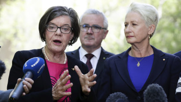 Independent MP Cathy McGowan, left, pictured with Dr Kerryn Phelps, is preparing a private member's bill to establish a federal anti-corruption body.