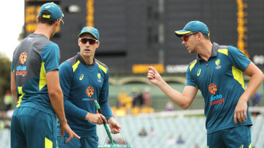 "Howling success: Mitchell Starc, Pat Cummins and Josh Hazlewood (L-R), dubbed the ""wolf pack""."
