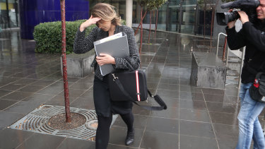 Ashlee Briffa, legal counsel for Home Affairs Minister Peter Dutton, leaves court on Saturday.