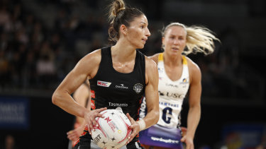 Kim Ravaillion of the Magpies in action during the Round 1 Super Netball match.