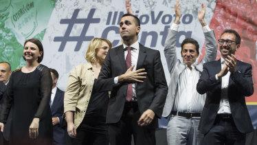 Five Star leader and Italian Deputy Prime Minister Luigi Di Maio addresses a rally in Rome on Saturday.