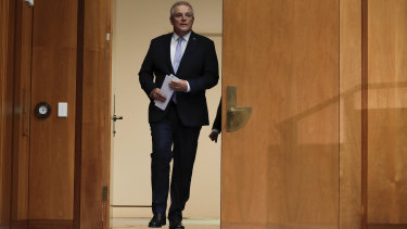 Scott Morrison arriving at the media conference at which he announced the end of COAG.