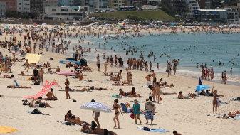 Beachgoers at Bondi during the weekend's heatwave.