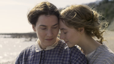 Kate Winslet (left) and Saoirse Ronan play lovers in Ammonite.