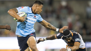 Standing firm: Israel Folau has fended off any retribution from Rugby Australia in the short term.