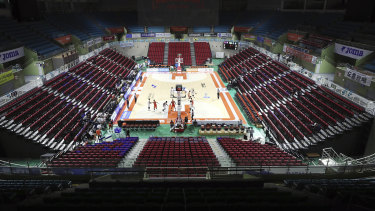 The stadium's seats are empty during the Korean Basketball League between Incheon Electroland Elephants and Anyang KGC clubs in Incheon, South Korea.