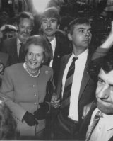 """Mrs Thatcher """"booed and jostled"""" by protesters"""