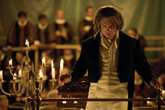 Ed Harris as Ludwig van Beethoven  conducting the first public performance of the Ninth Symphony, in a scene from Agnieszka Holland's Copying Beethoven.