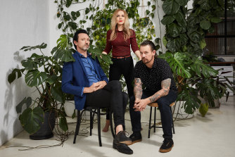 """Hopefully we might at least be able to get together in a rehearsal room in a few weeks' time,'' says Paul Dempsey, left. He and Stephanie Ashworth have been releasing YouTube videos during lockdown, while drummer Clint Hyndman has been apart on the Mornington Peninsula."