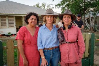Total Control's lead actors, Deborah Mailman and Rachel Griffiths, and director Rachel Perkins during filming.