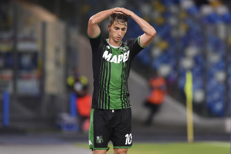 Filip Djuricic reacts after having a goal disallowed.