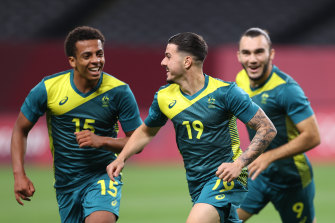 Marco Tilio (No.19) celebrates after scoring Australia's second goal against Argentina on Thursday in Sapporo.