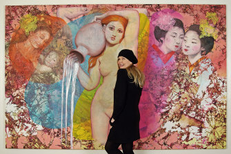 Annette Bezor in front of her painting Entitlement-Complicity.