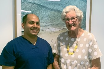 Heather Voevodin (pictured with Greenslopes Private Hospital surgeon Dr Joy Chakraborty) at 95 has become the oldest Australia to undergo robotic assisted surgery.