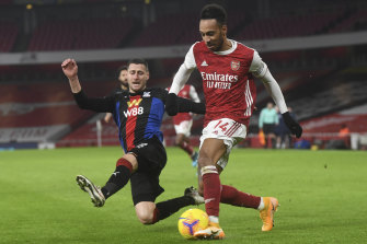 Captain Pierre Emerick-Aubameyang, right, was again unable to break through for Arsenal.