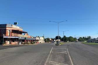 Nagambie's empty main street - around 130km north of Melbourne - on day one of snap lockdown in Victoria on Saturday.