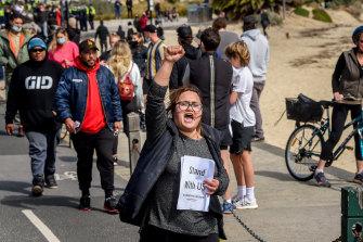 Protesters swept through St Kilda on Saturday.