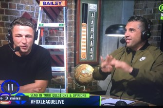 True bromance: Sam Burgess and Braith Anasta appear on Fox Sports.
