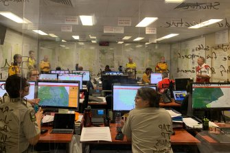 Cooma RFS operations room during morning briefing ahead of a tricky day in Monaro region.