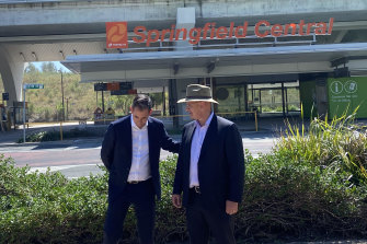 Labor's Shadow treasurer Jim Chalmers (left) and Blair MP Shayne Neumann pitching the planned Springfield Central to Ipswich Central rail corridor.