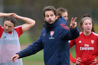 European dream: Arsenal coach Joe Montemurro is faces PSG in the Champions League quarter final this weekend.