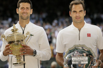 2019 champion Novak Djokovic and runner-up Roger Federer.