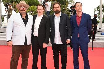 Producer Nick Batzias, actor Caleb Landry Jones, director Justin Kurzel and screenwriter Shaun Grant at the Cannes Film Festival premiere of Nitram.