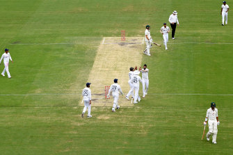 India celebrates taking the wicket of Mitchell Starc during day four of the fourth Test at the Gabba.