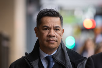 Trucking company manager Simiona Tuteru, who has been charged in connection to the Eastern Freeway crash, walks into court on Tuesday.