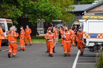 SES members assembled at the Warburton Police station on Wednesday morning.