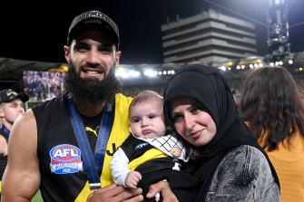 Bachar Houli after the 2020 grand final win with wife Rouba and son Mohamed, who was born in July.