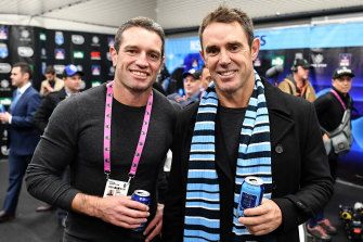 First-year win: Brad Fittler (right) with assistant coach Danny Buderus after NSW's 2018 Origin series triumph.