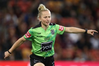 Rising referee Belinda Sharpe's opportunities could be limited with the move back to one on-field official.