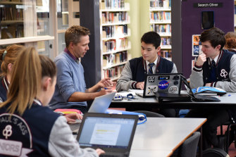 Year 12 students studying in the library at St Paul's in Warragul.