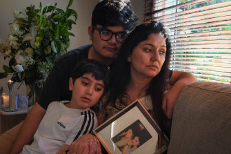 Amarpreet Kaur with her sons Veraj and Varsh.
